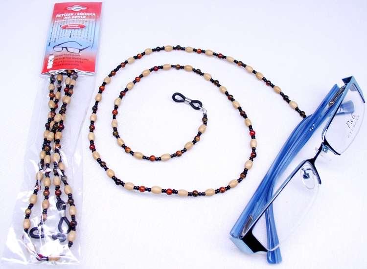 Řetízek na brýle - dřevo/korálky